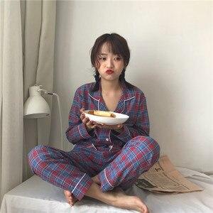 Image 2 - 2019 coreano feminino pijamas conjuntos com calças de algodão pijama xadrez primavera verão pijamas bonito noite wear pijamas