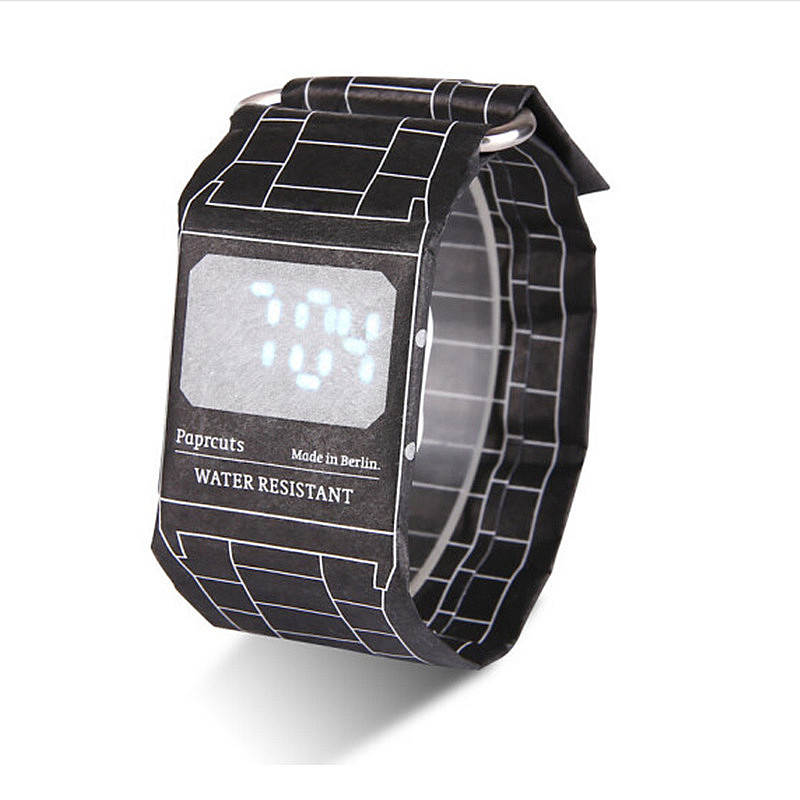 2018 Creative Men Paper Watch Calendar Date Display Waterproof Clock child Paper Strap Cool Boy Papr Digital Watches XF1453 papr reduction