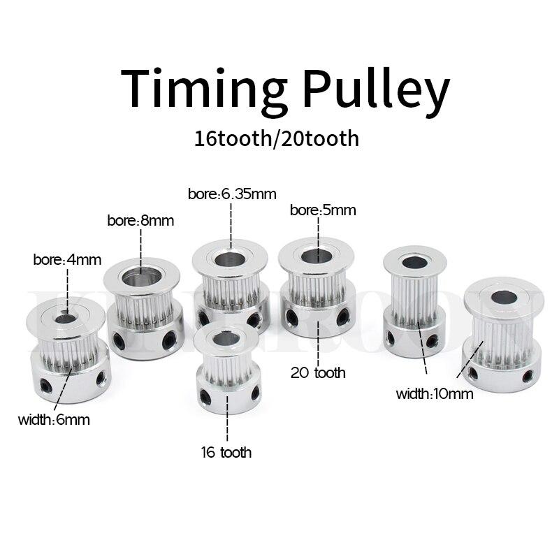 GT2 Idler Timing Pulley 16/20/36/40 Tooth Wheel Bore 3/5mm Aluminium Gear Teeth Width 6/10mm 3D Printers Parts For Reprap Part
