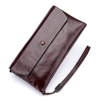2018 fashion new women's wallet Solid color 2 fold genuine leather wallets First layer of oil wax cowhide wallets female purse