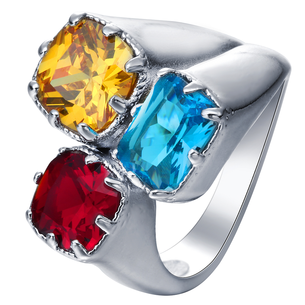 large 3 Yellow Red blue crystal promise Rings new jewelry drop shipping princess women Engagement Ring
