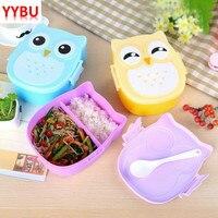 YYBU Cute sowa pojemnik na Lunch dla dzieci z podgrzewaną wodą pojemnik na żywność z przegródkami Cartoon szkoła Bento Box dla dzieci pudełko na kanapki w Pudełka śniadaniowe od Dom i ogród na