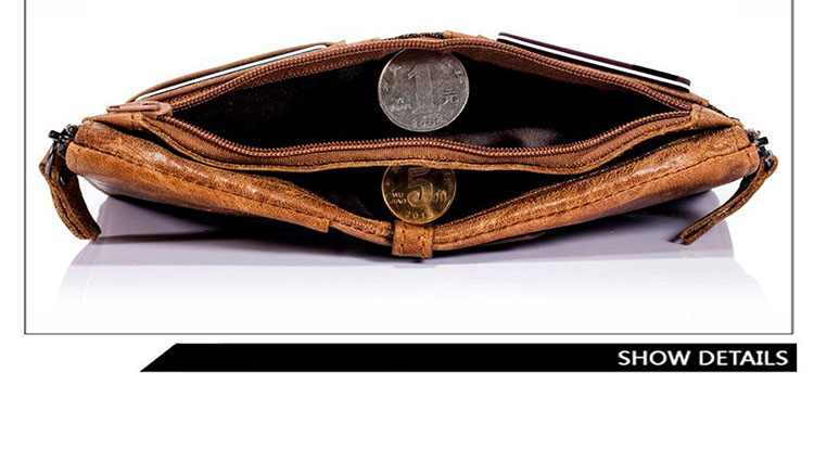 Topdudes.com - Genuine Leather Multi-functional Short Clutch Wallet with Coin Pocket/Card ID Holder/Double Zippers