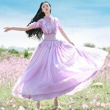 Женское длинное шифоновое платье boshow фиолетовое богемное