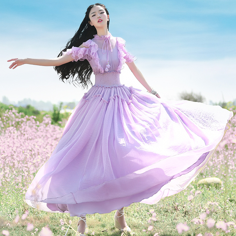 Livraison gratuite Boshow 2019 nouvelle mode femmes en mousseline de soie longue Maxi volants robes d'été violet bohème blanc robe avec gros ourlet S L-in Robes from Mode Femme et Accessoires    1