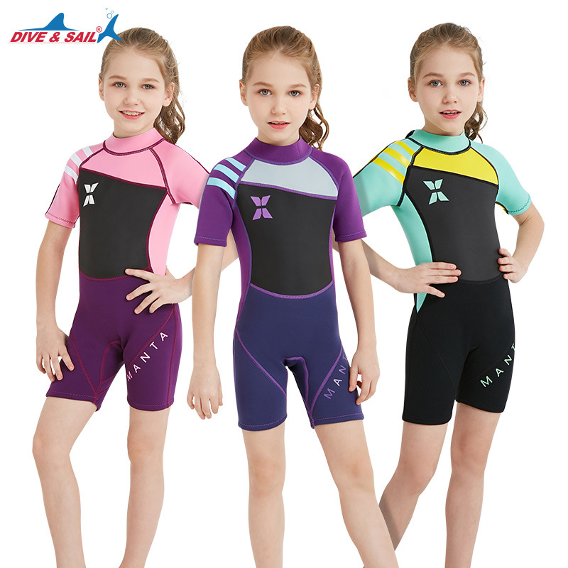 DIVE&SAIL Kids 2.5mm Neoprene Wetsuit Girls Short Sleeved Surf Dive Wet Suit Children One-piece Swimwear Sunscreen Warm ClothingDIVE&SAIL Kids 2.5mm Neoprene Wetsuit Girls Short Sleeved Surf Dive Wet Suit Children One-piece Swimwear Sunscreen Warm Clothing