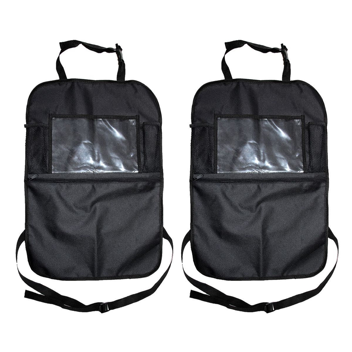 2PCS Car Organisers Kick Mats,Waterproof Car Seat Protectors Back Seat Storage Organiser Holder for Phones iPad Tablets and Sn