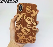 XINGDUO Natural Bamboo Wood Pattern carving TPU Phone Case Fundas For iPhone 6 6S 7 8 Plus X XR XS Max 5 5S SE Back Cover Shell scorpion pattern detachable protective wood back case for iphone 5 5s wood