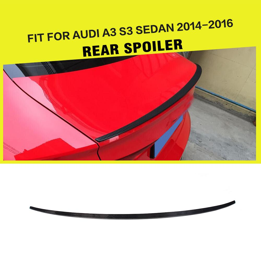 Carbon Fiber Auto Car Rear Trunk Wing lip Spoiler For Audi For A3 & S3 Sedan 2013UP pu rear wing spoiler for audi 2010 2011 2012 auto car boot lip wing spoiler unpainted grey primer