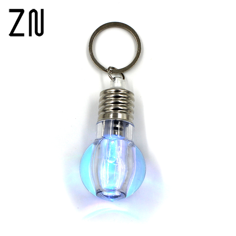 1pcs Bright Creative LED Colorful Flash Lights Mini Bulb Torch Keyring Xmas Cute Keychain Keyring Clear Lamp Jewelry