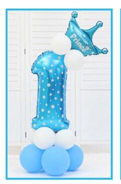 16 шт./упак. розового и голубого цвета для детей 0-9 цифры Большие Гелиевые номер Фольга детей фестивалей Dekoration День рождения шляпа игрушки для детей - Цвет: blue 1