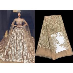 2019 высокое качество с цветочным узором кружевная африканская ткань с блестками из шифона и тюля, органза швейная ткань для вечерние свадебн...