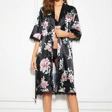 7bd284c69473 Sexy Lace Satin Silk Kimono Lingerie for Women Cherry Blossom Bath Robe  Patchwork Sleepwear Dressing Nightgowns