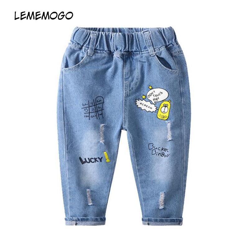 100% QualitäT Lememogo Mode Muster Jungen Jeans Mädchen Sommer Loch Cartoon Sport Hosen Baby Kinder Elastische Taille Hose Kinder Jeans