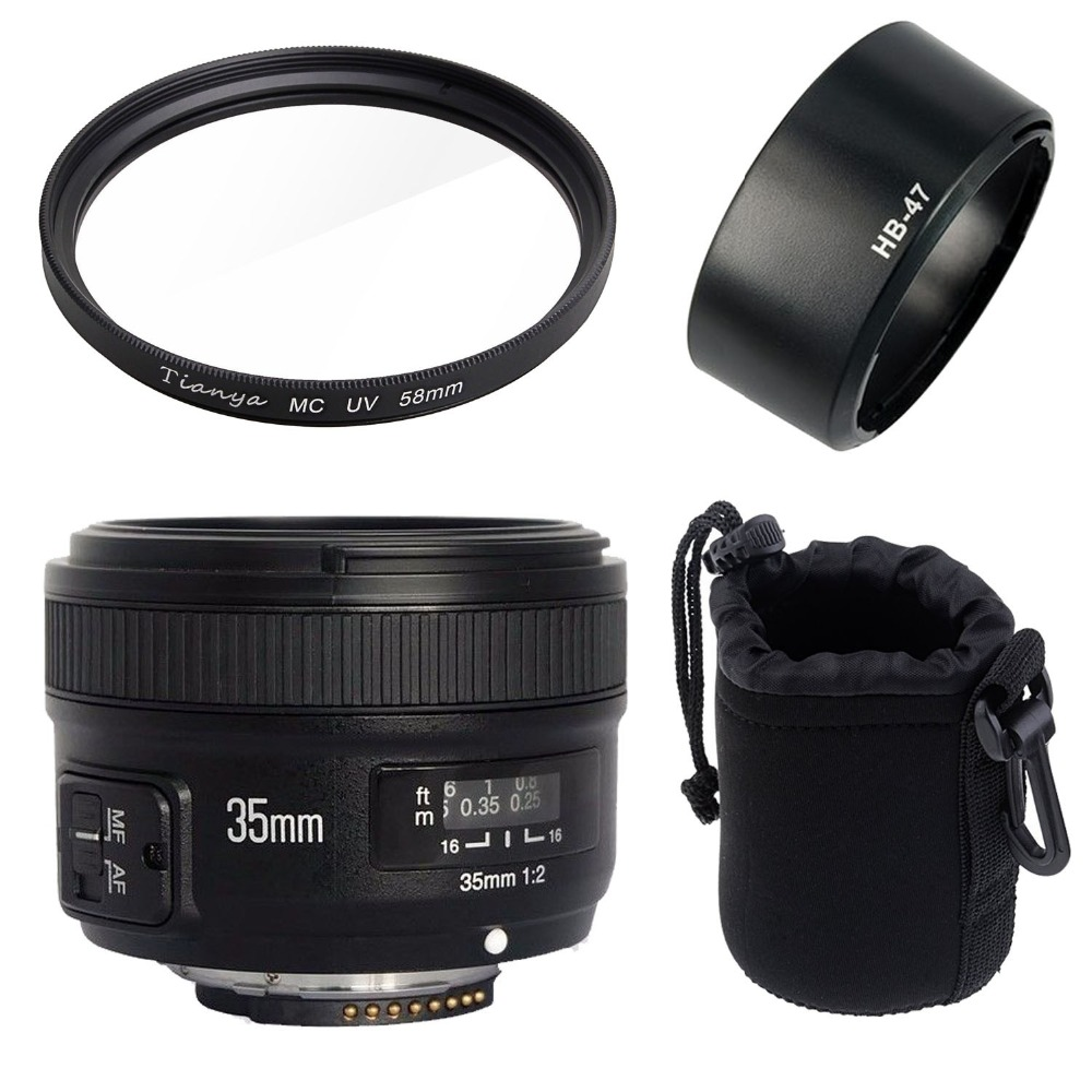 <font><b>Yongnuo</b></font> YN35mm F2N lens Wide-angle Large Aperture Fixed Auto Focus Lens+58mm UV filter +lens bag+Lens Hood For <font><b>Nikon</b></font> D7100 D3200 image