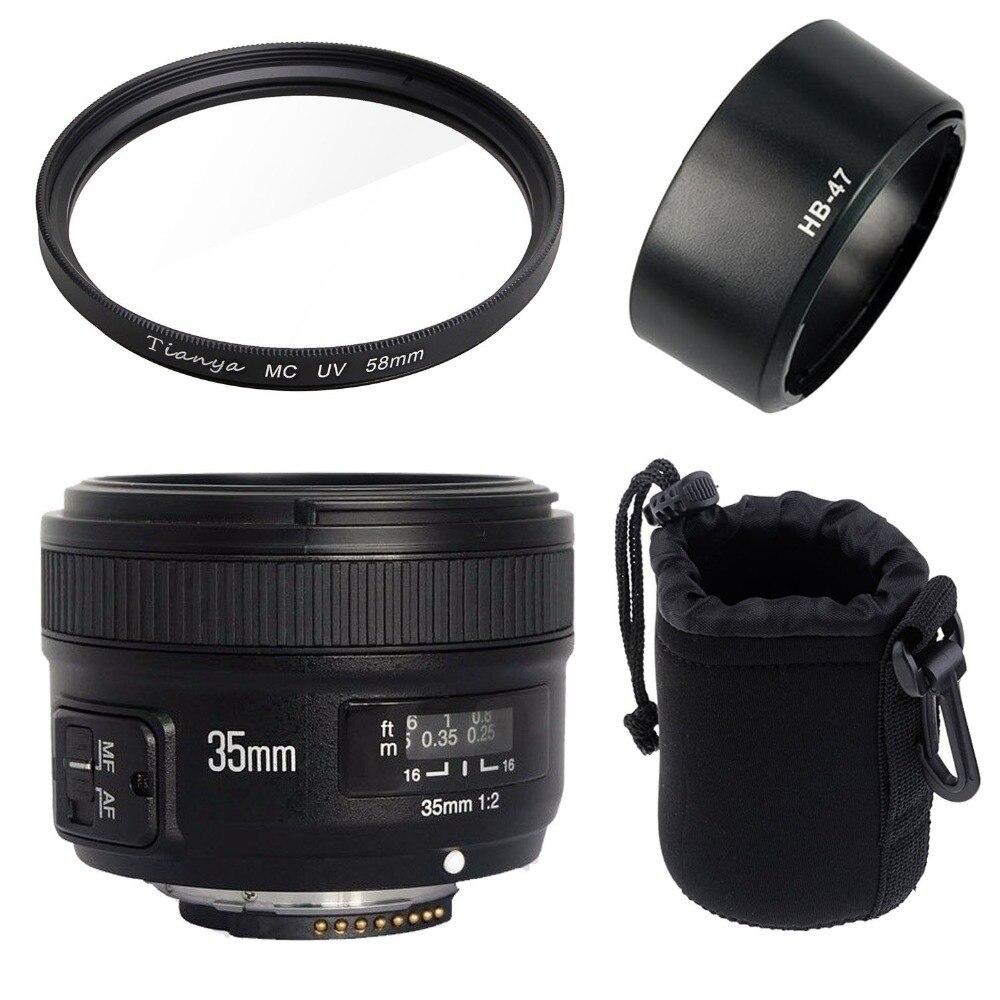 Yongnuo YN35mm F2N objectif grand angle grande ouverture fixe Auto Focus objectif + 58mm filtre UV + sac d'objectif + pare-soleil pour Nikon D7100 D3200