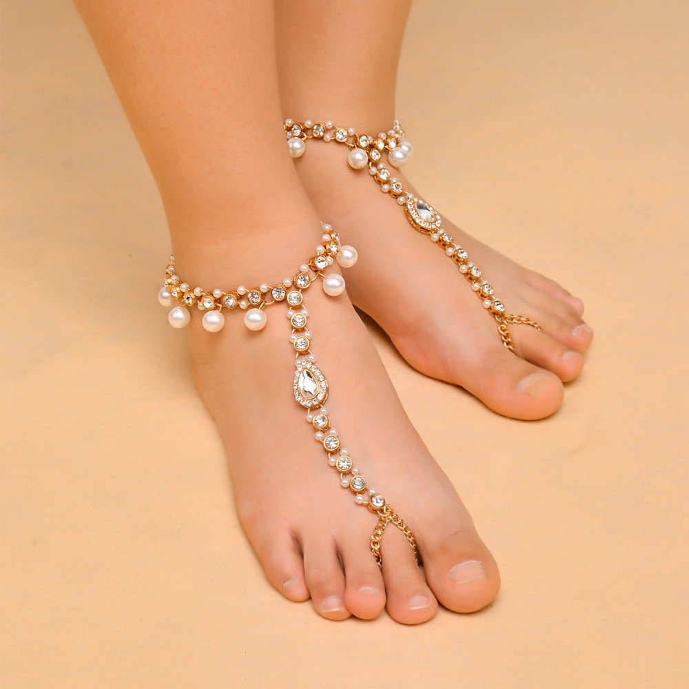 Boho Bridal Barefoot Sandals Imitation Pearl Pendant Crystal Rhinestone Multilayer Anklet Wedding Beach Foot Chain Jewelry plath s the bell jar