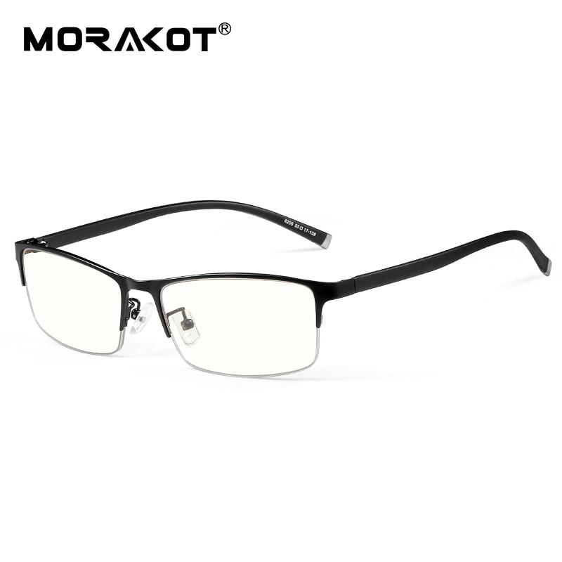 MORAKOT Photochromic Anti Blue Ray Glasses Men Lightweight Eyewear TR90 Glasses Frame Mens Half Frame Myopia Glasses BSF006206|Men's Blue Light Blocking Glasses| |  - title=