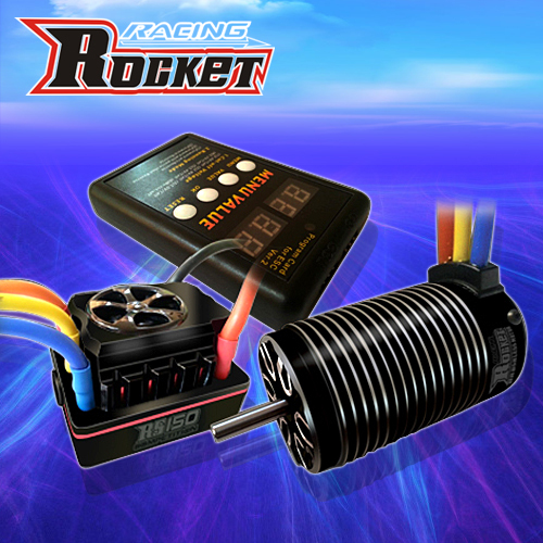 4076 2250KV 2000KV Motor sin escobillas sin sensor + 150A sin escobillas ESC con modo de interruptor de 8,4 V BEC + tarjeta de programación LCD para coche RC 1/8