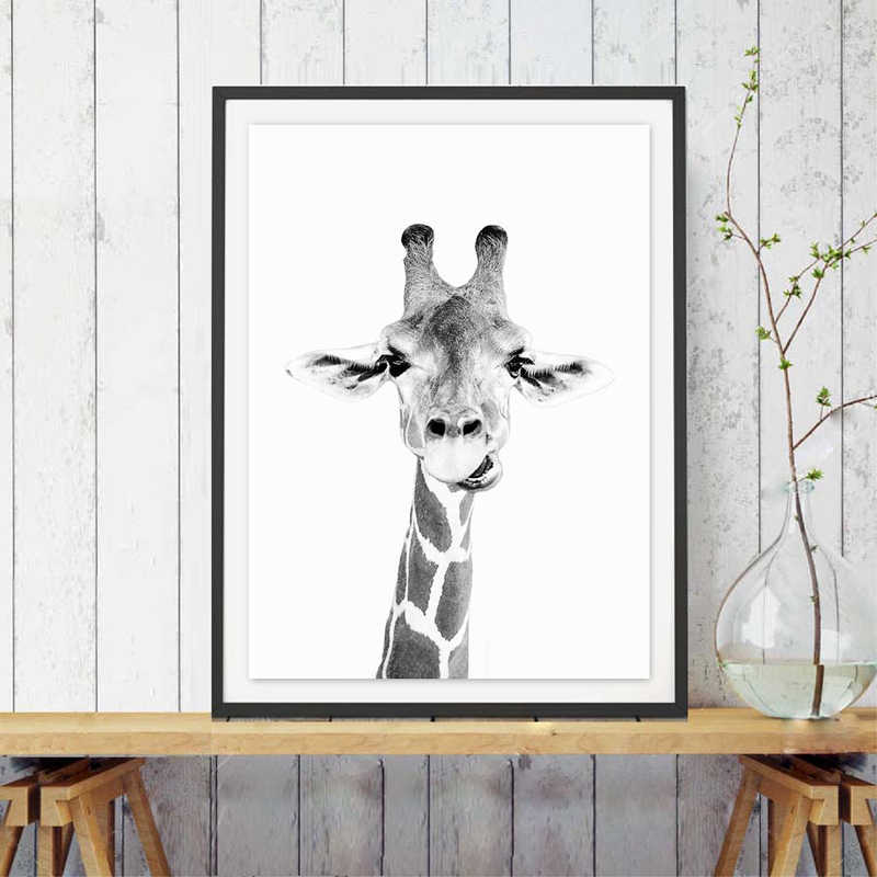 Giraffe Safari Wall Art Canvas Poster Print Zoo Decor Fun Animal Black and White Photography Painting Picture Nursery Decoration