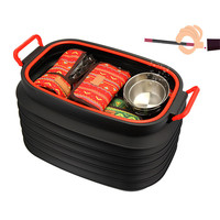 Outdoor 37L With Lid Storage Bucket Car Folding Fishing Telescopic Barrel Folding storage bucket