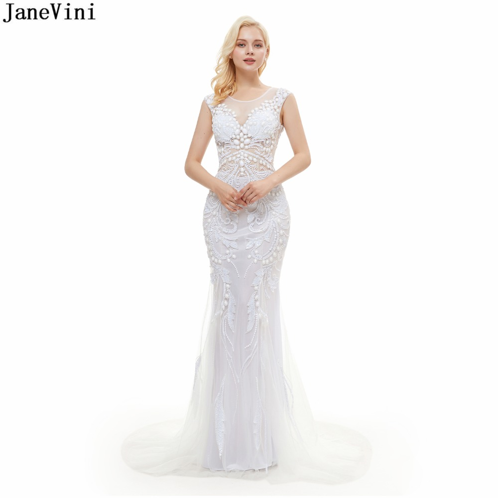 JaneVini Luxury Mermaid Beads Sequins Long Bridesmaid Dresses Sexy Backless Scoop Neck White Tulle Sweep Train Formal Prom Dress
