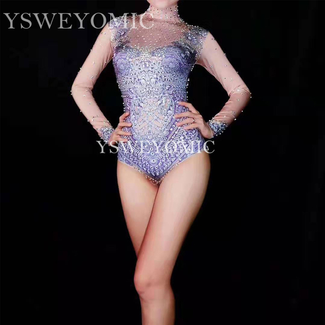 New big Stretch Leotard Female Singer Dancer Sexy short Bodysuit Costume Women's Nude Nightclub Outfit Party Wear YSW6643