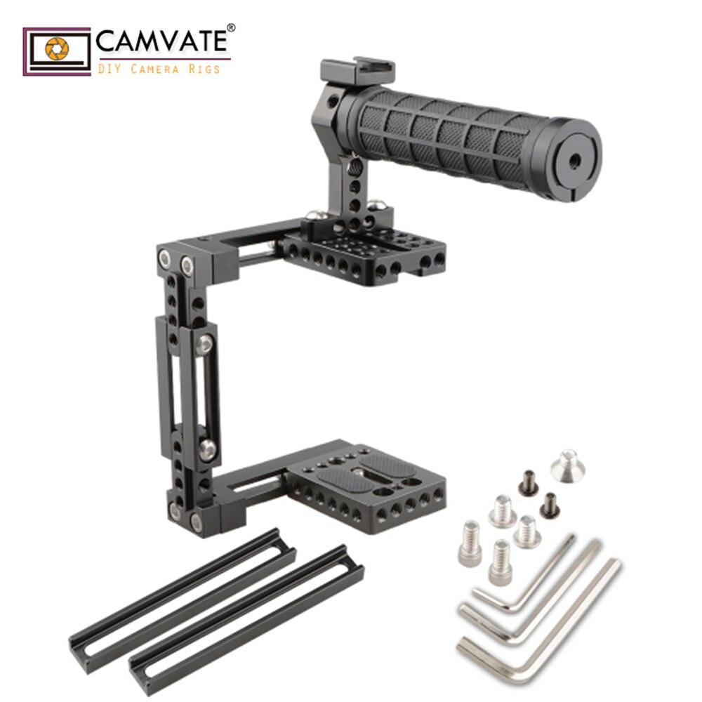 CAMVATE Double-utiliser Réglable Cage avec Poignée Supérieure (Caoutchouc) C1724 caméra photographie accessoires