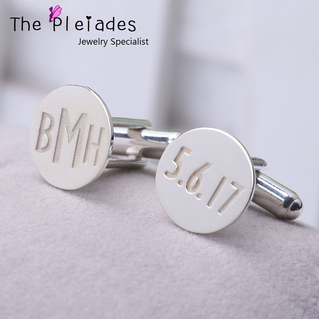 925 Sterling Silver Cuff Links Custom Date Monogram Initial Engraved