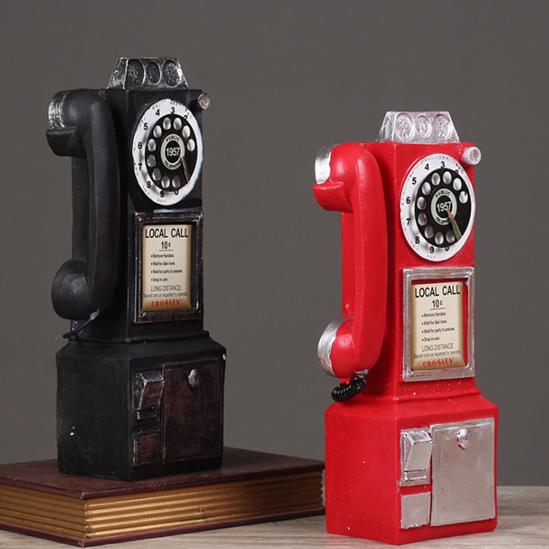 Vintage Resin Figurine Phone Telephone Desk Stand Home Office Decor Cafe Bar Gift Window Decoration Props