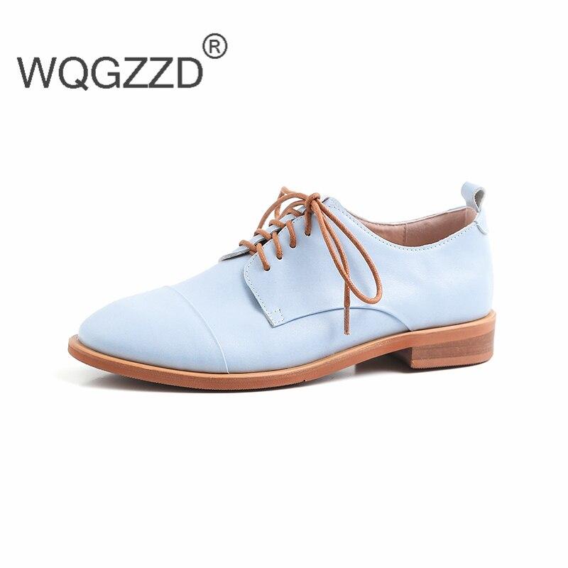 Delle blue Chaussures Beige Da Pelle Nuovo Di apricot Oxford Punta Basse Donna In Donne Scarpe Vera Mujer Marca black Rotonda Zapatos Femme rRrw6