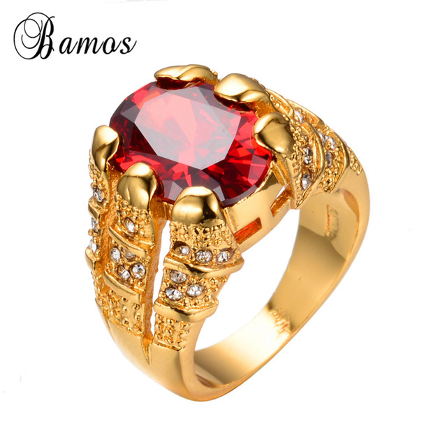 New Fashion Big Oval Red Male Wedding Ring Men's Love Jewelry 14KT Yellow Gold Filled Promise Engagement Rings For Men RY0005