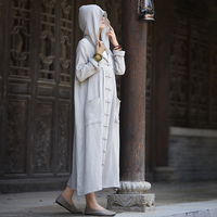 Women Autumn Winter Hooded Long Trech Coat Cotton Linen Loose Fall Single Breasted Plus Size Solid