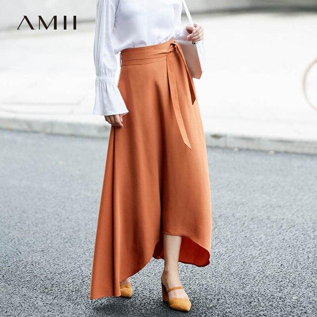 3386c9ca59 La mejor compra Amii mujeres falda minimalista maciza 2019 ...