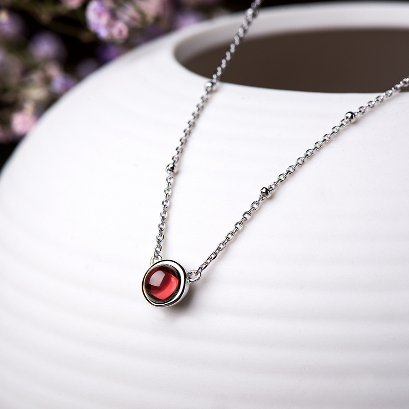 Guaranteed Silver 925 Garnet Pendant Necklace Simple Round Chain Necklace Talisman For Women Natural Stone