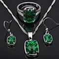 Стильный Зеленый Кубического Циркония Для Женщин Серебряные Ювелирные Изделия Устанавливает Ожерелье Серьги Кольца Бесплатная Доставка JS0101