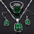 Stylish Green Cubic Zirconia For Women Silver Jewelry Sets Necklace Pendant Earrings Rings Free Shipping JS0101
