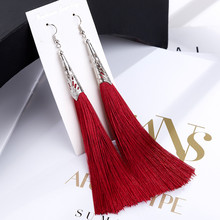 L&H Bohemia Long Statement Tassel Earrings Hot Sale Vintage Geometric Red Black Silk Drop For Women New Fashion Jewelry