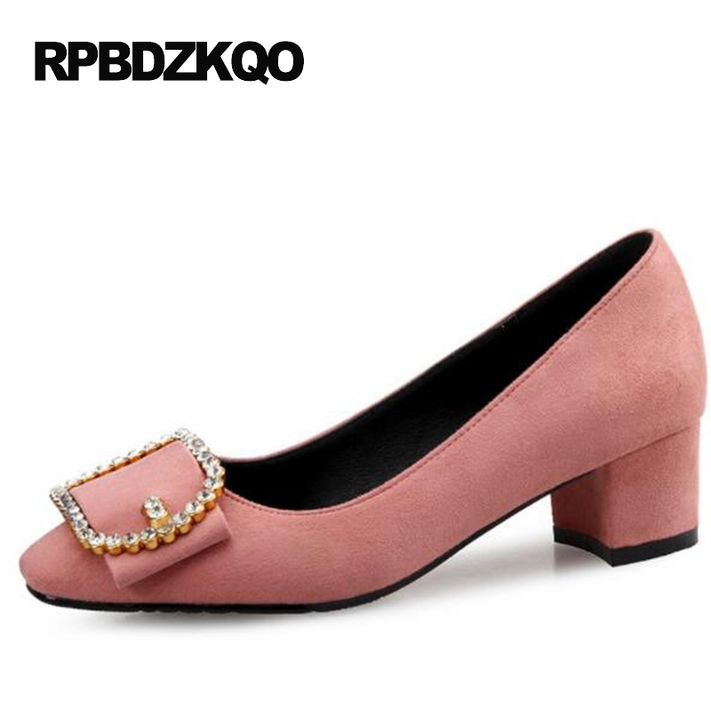 Pink Crystal Shoes 10 42 Women Pumps Medium Size 33 Rhinestone Crossdresser Black Suede 4 34 High Heels Thick Big Square Toe 11 humor bear baby girl clothes new spring and autumn long sleeve t shirt pink princess dress kids clothes girls clothing