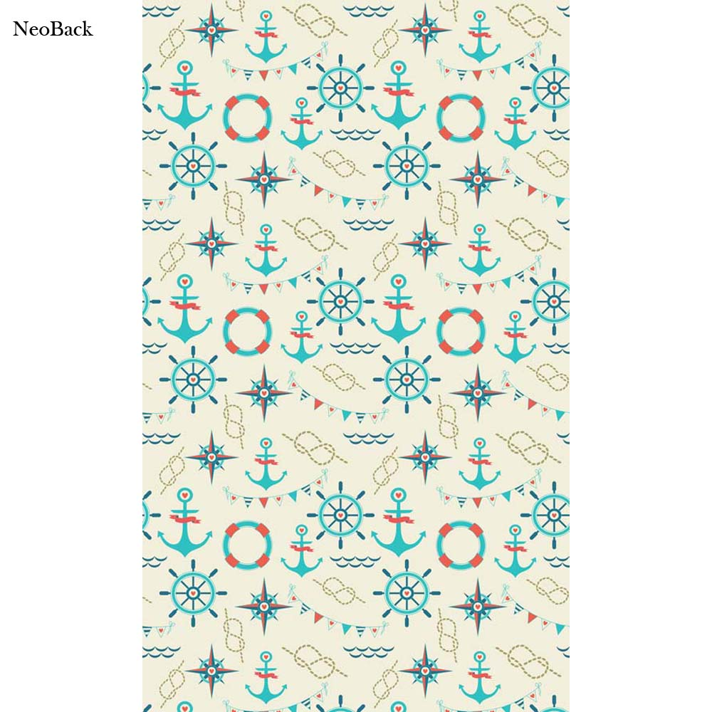 NeoBack Vinyl Cloth New Born Baby Blue Anchor Rudder Pattern Wall Backdrops Printed Children Kids Studio Photo Backgrounds P2107