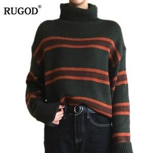Женский свитер с высоким воротом RUGOD, повседневный вязаный свитер в полоску, в Корейском стиле