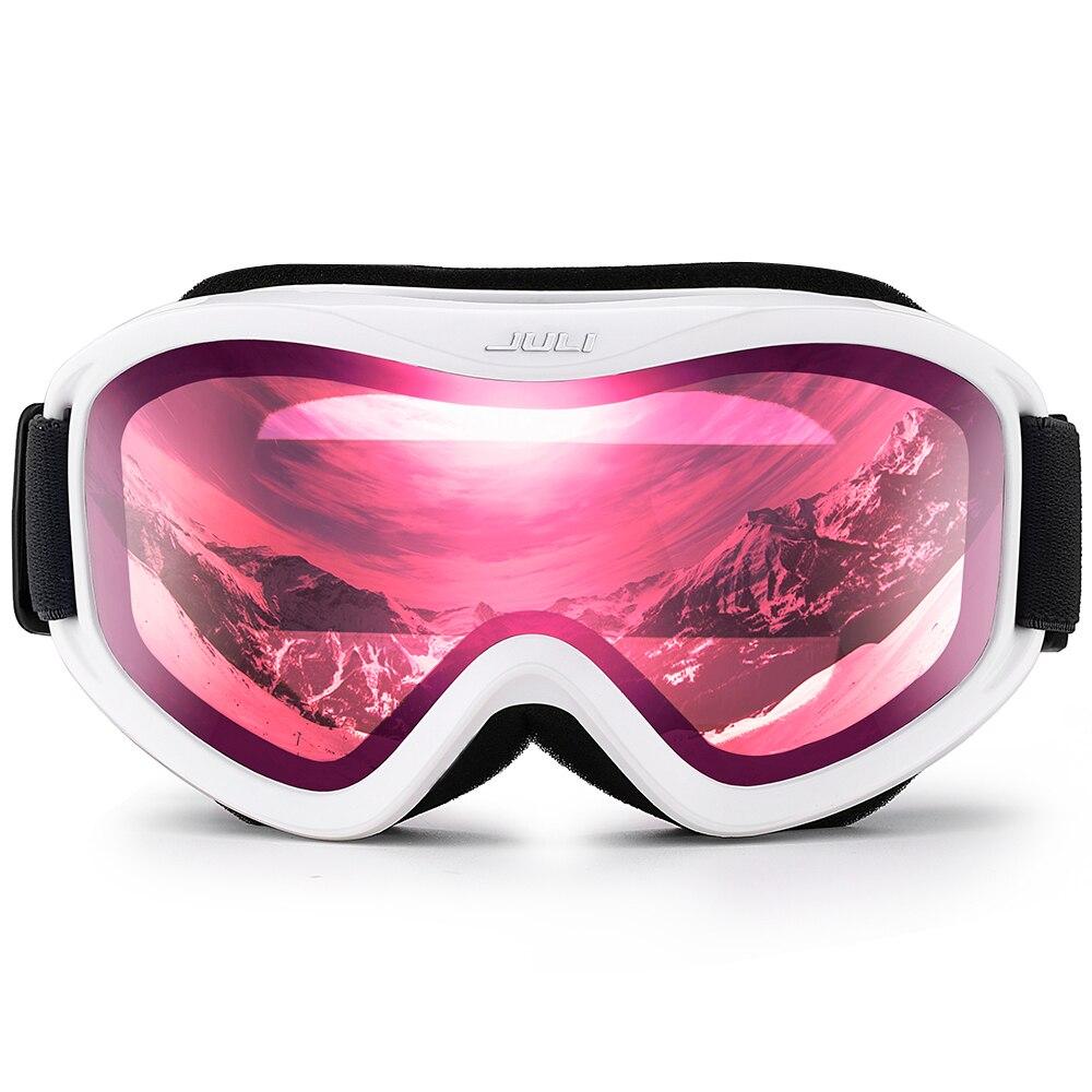 Lunettes de Ski, Sports de Neige Snowboard Lunettes avec Anti-brouillard UV Protection Double Objectif pour Hommes Femmes (Blanc cadre + 16% VLT Rose Len)