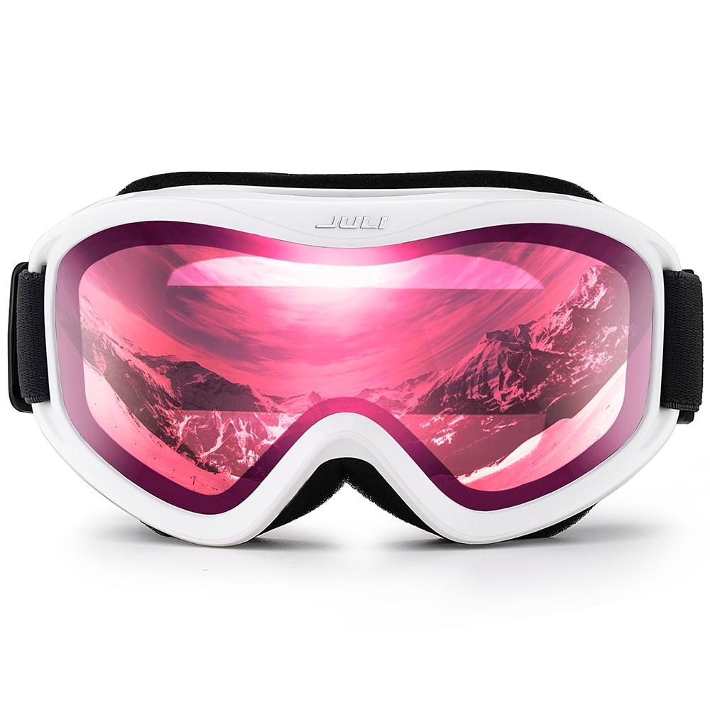 Ski Goggles,Snow Sports Snowboard Goggles with Anti-fog UV Protection Double Lens for Men Women (White Frame+16%VLT Pink Len) baolina 5020 outdoor riding men resin lens pc frame uv protection sunglasses goggles black