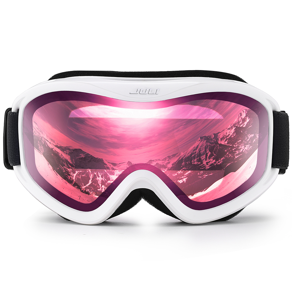 Ski Goggles,Snow Sports Snowboard Goggles with Anti-fog UV Protection Double Lens for Men Women (White Frame+16%VLT Pink Len)