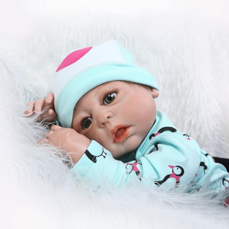 Adorable Baby Doll with Penguin Toy Reborn Kids Playmate Birthday Gift Fashionable full vinyl soft for girls can take a shower пинетки митенки blue penguin puku