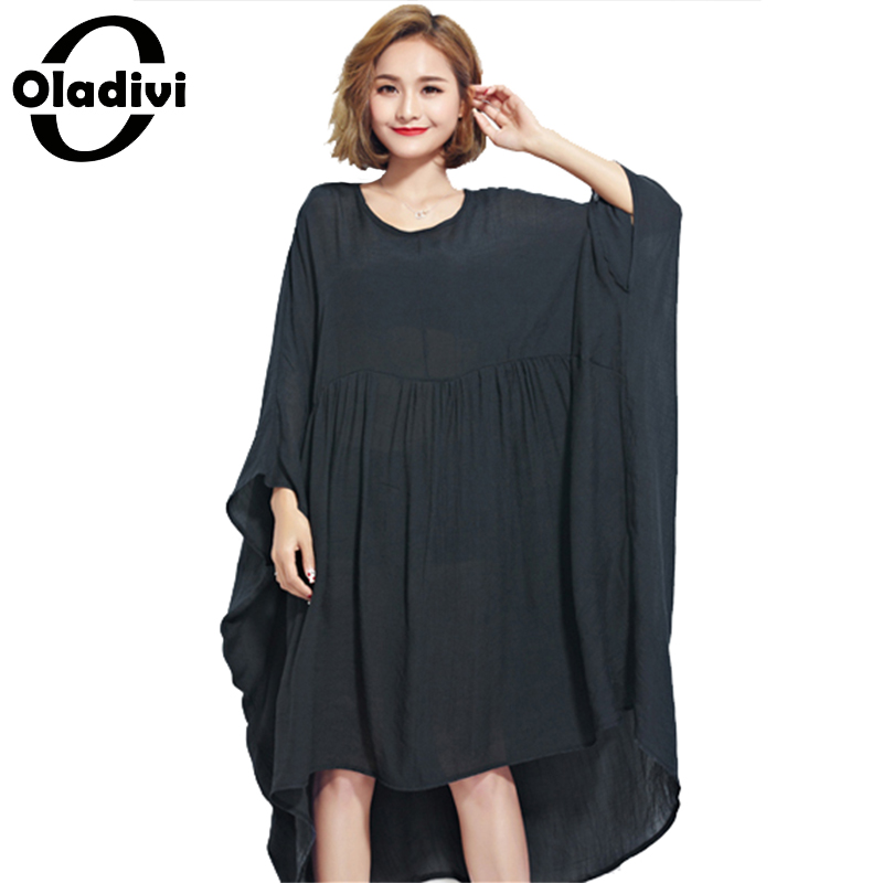 Buy Cheap Oladivi Oversized Women Clothing Summer Dress Plus Size Solid Chiffon Shirts Female Casual Large Tops Tees Tunics Shirt Dresses