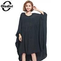 Oladivi Oversized Women Clothing Summer Dress Plus Size Solid Chiffon Shirts Female Casual Large Tops Tees