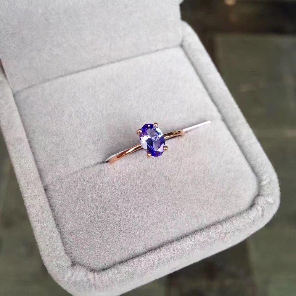 Pierre précieuse tanzanite naturelle bague 18K or rose style simple fine femmes & fille bijoux livraison gratuite couleur pourpre - 5