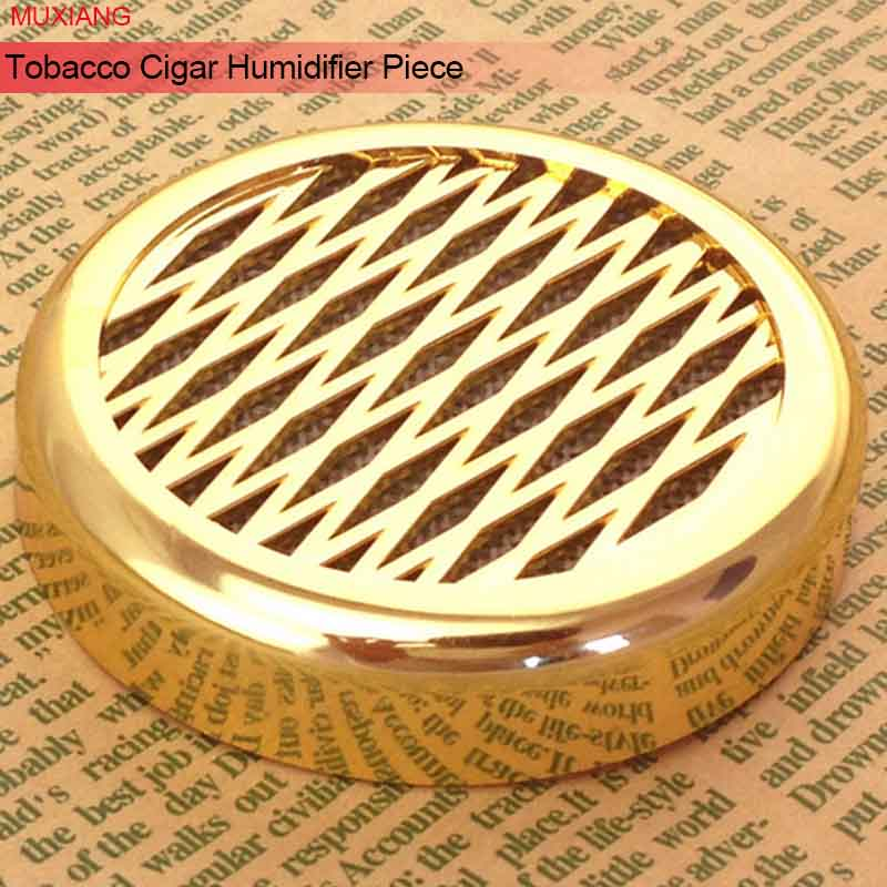2 Pcs Tobacco Cigar Humidifier 57mm Gold Color Round Plastic Tobacco Humidor Portable for Travel Smoking Accessories cg0008
