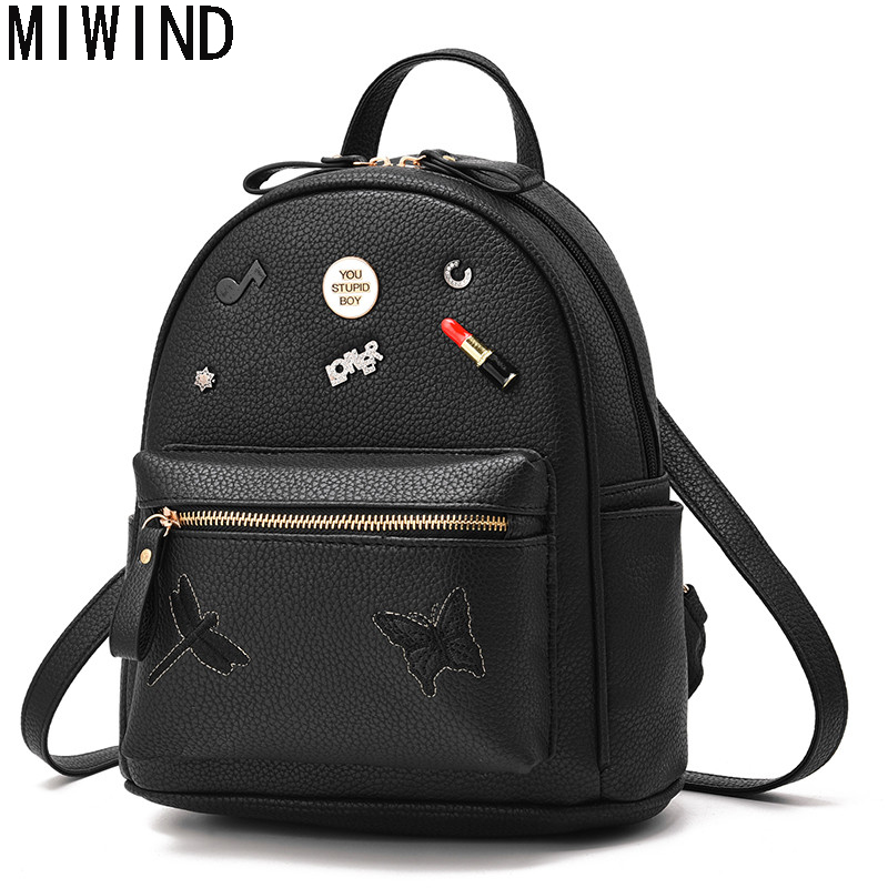 MIWIND Backpack Women PU Leather Bag Small Backpacks Female School Shoulder bags Teenage Girls College Student Bag T1128 women backpacks fashion pu leather shoulder bag small backpack women embroidery dragonfly floral school bags for girls